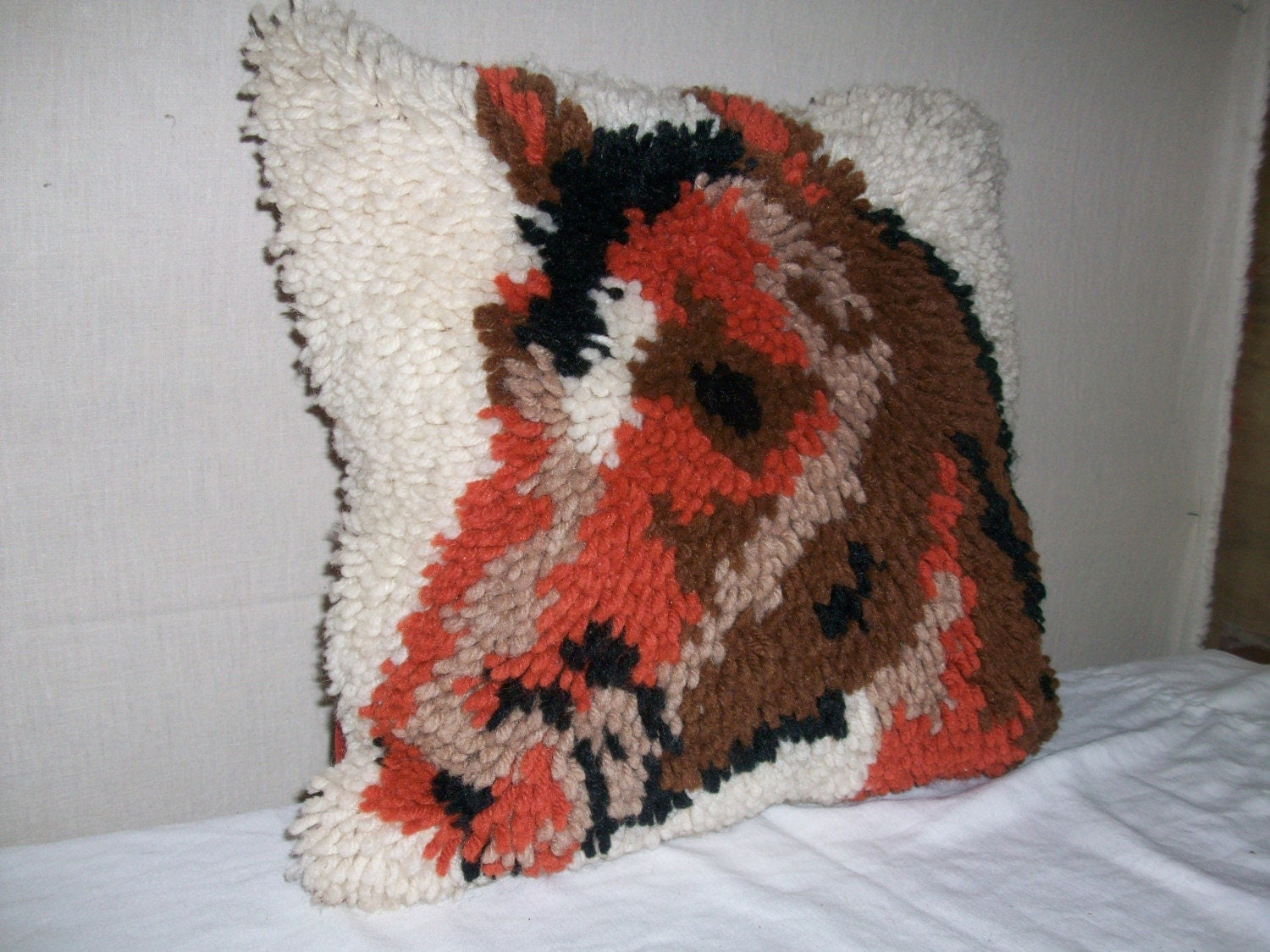 Vintage 1970's Latch Hooked Western Horsehead pillow