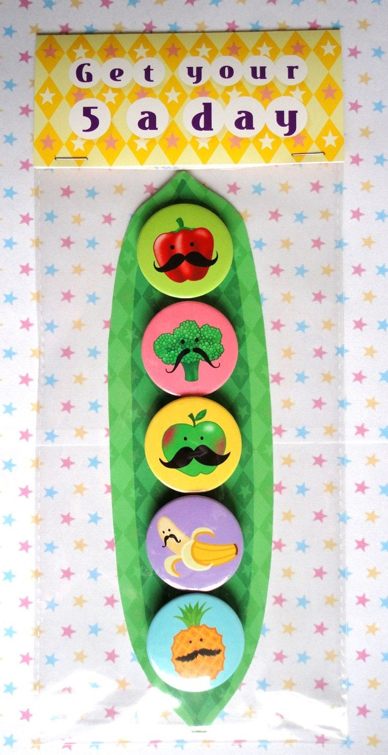 FIVE FRUITY AND VEGGIE MUSTACHE MAGNETS