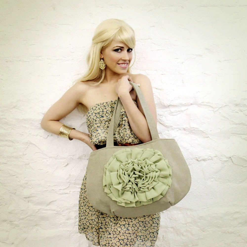 Sage Green Small Chiffon Flower Handbag READY TO SHIP - mojospastyle