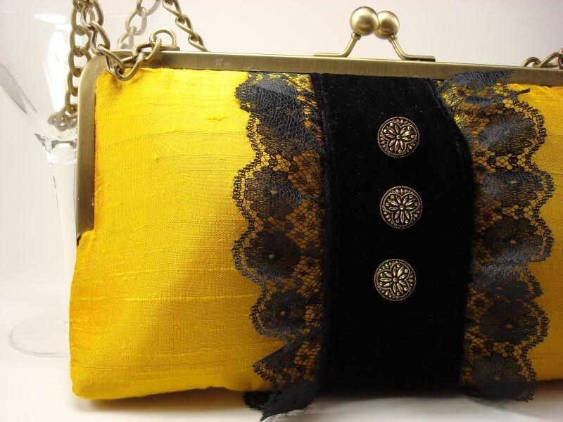 Yellow Silk and Black Velvet Purse-The Georgina
