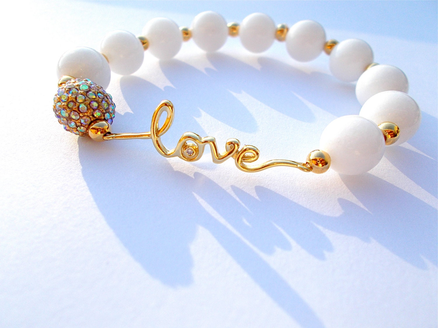 Love bracelet, Bridal Jewelry, Purity bracelet, yellow gold, white jade