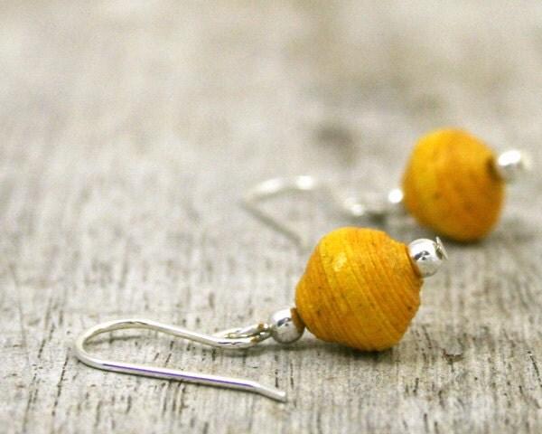 Earrings eco friendly sterling silver paper gems single drop yellow handmade paper bead - LittleDeerCreations