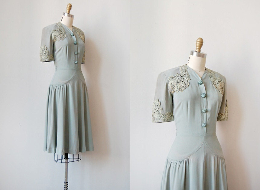 vintage 1940s grey filigree lace dress | RUE DU RUNARD DRESS
