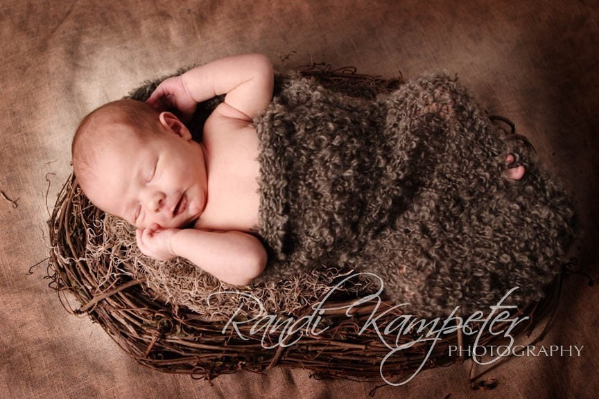 FREE SHIPPING New Design Baby Cocoon Photo Prop in Moss Green and Brown Color, Perfect for Natural, Eco-Friendly and Forest Theme Photography, Images by Randi Kampeter