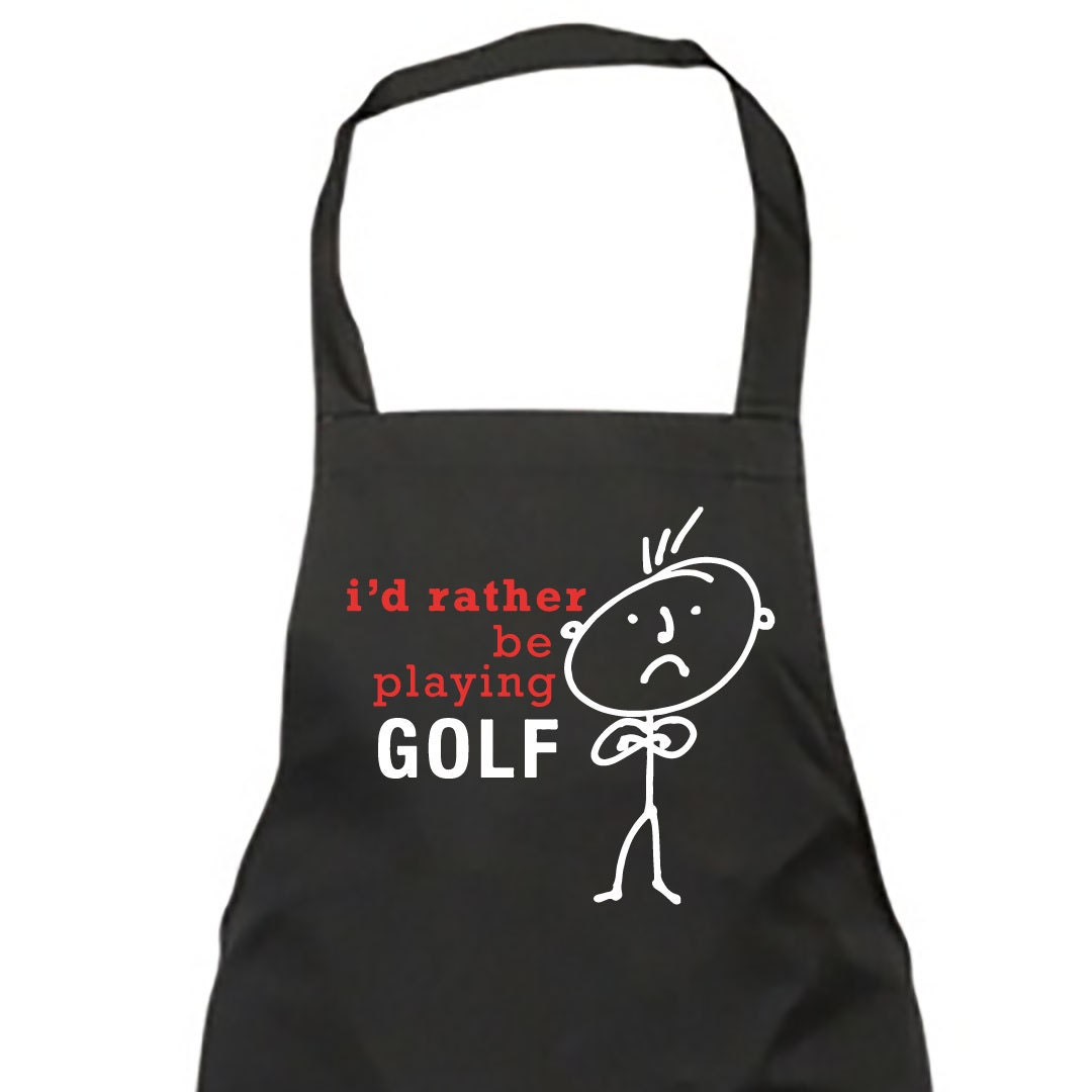 Golf Apron Mens Black Id Rather Be Playing Golf Apron Fathers Day Birthday Christmas Gift Idea