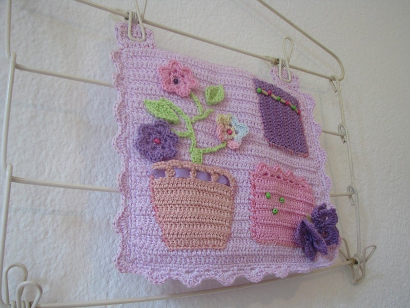 Organizer in lilac, pink, lavender, peach and purple with flowers and butterfly - unique christmas gift -room decor for girls
