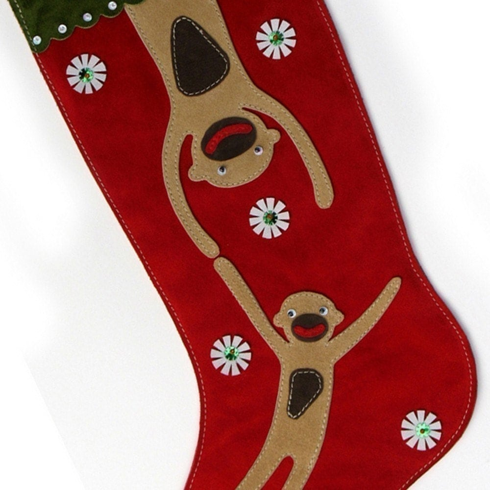 Delightful Swinging Monkeys (suede) Christmas Stocking