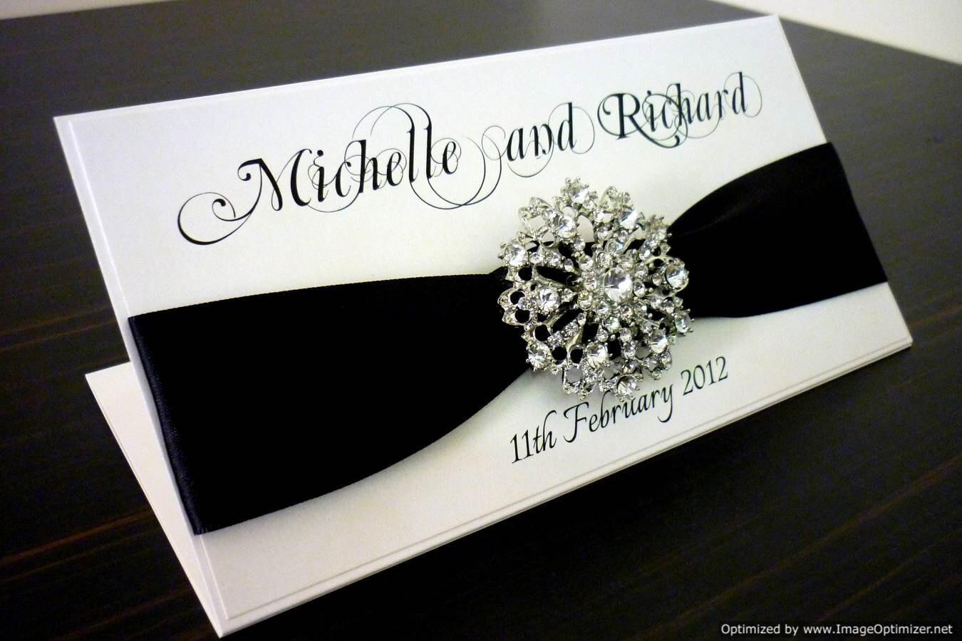 Black and white elegant wedding invitation by for Black and white bling wedding invitations