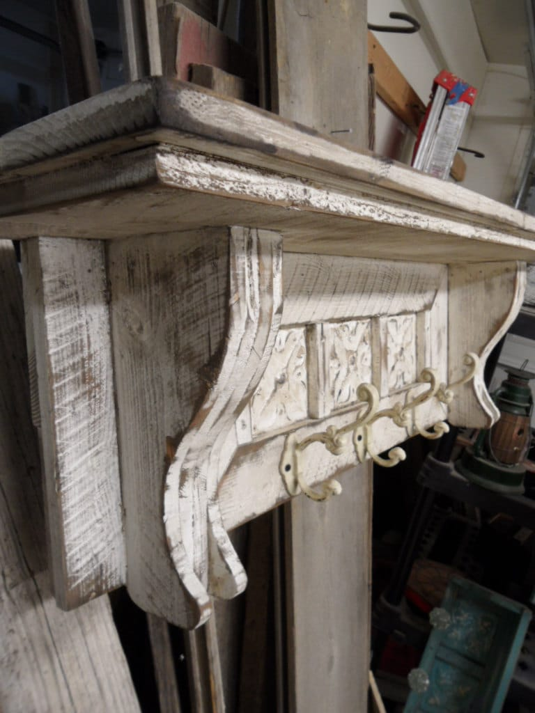 Cottage chic coat rack primitive hat rack by lynxcreekdesigns - Adding character to your hallway with a hall tree ...