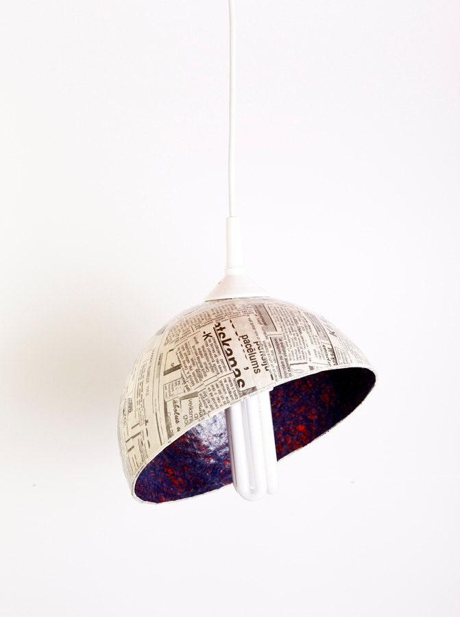 Upcycled абажур, подвесные лампы, мужская, унисекс, assymetrical диагональ сократить Нечетные Газета Утро на FiligreeCreations на Etsy