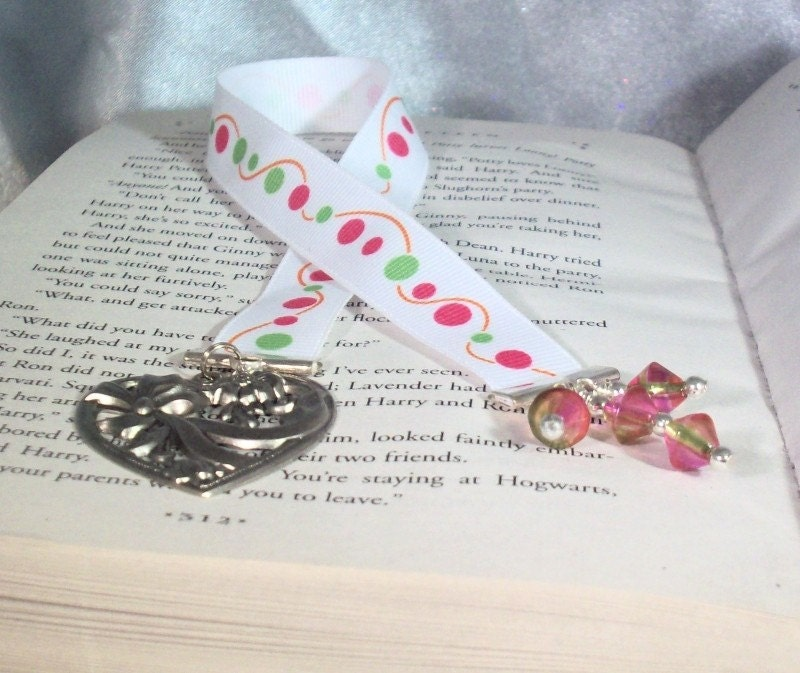 Dotted Ribbon Bookmark with Beads and Focal Heart