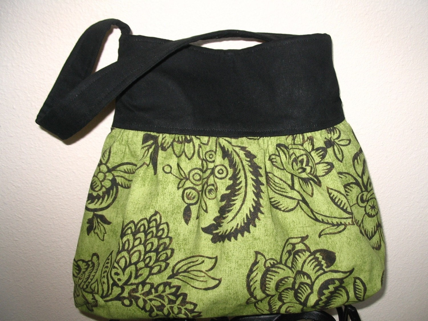 Gathered Shoulder Boutique Bag in  Green and Black Floral