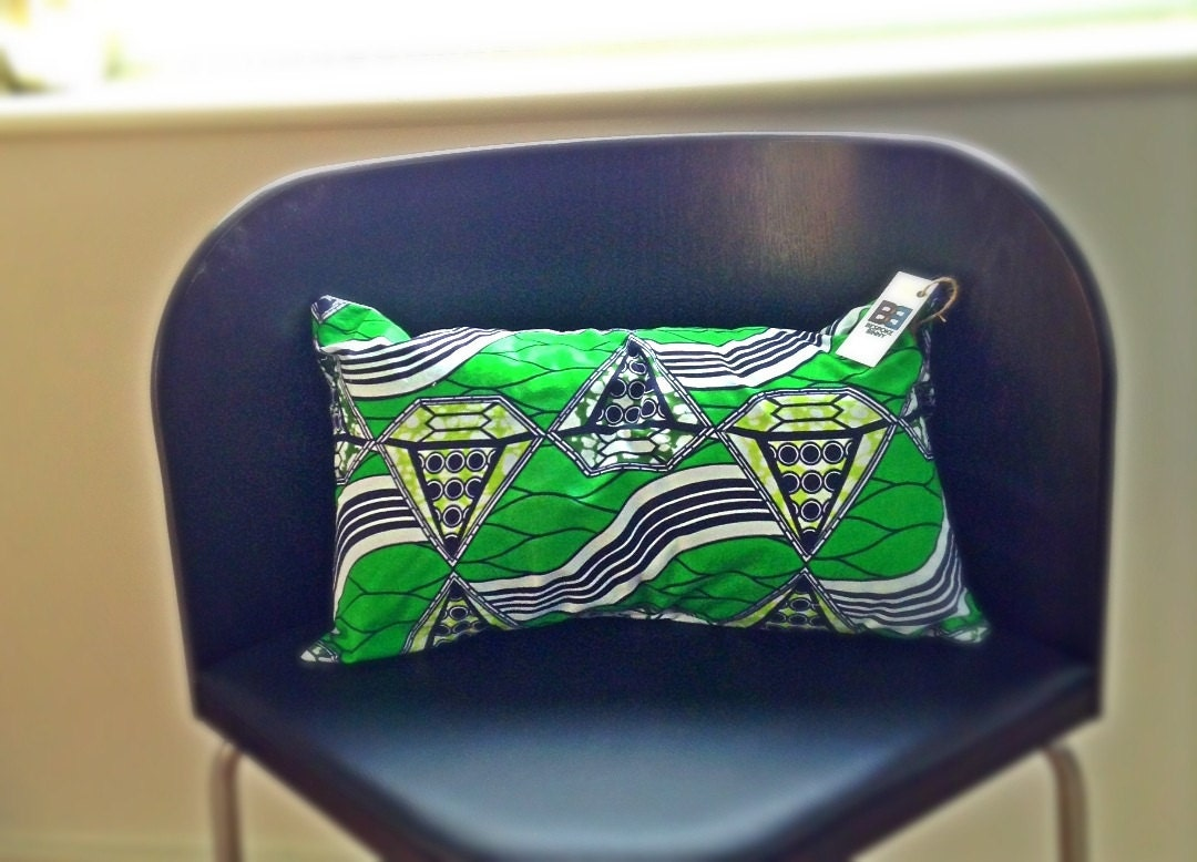 "African Wax Print 20"" x 12"" lumbar pillow / cushion cover- green pyramids"