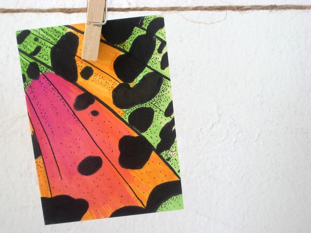 Original ACEO Butterfly Moth Wing Abstract Art Marker drawing