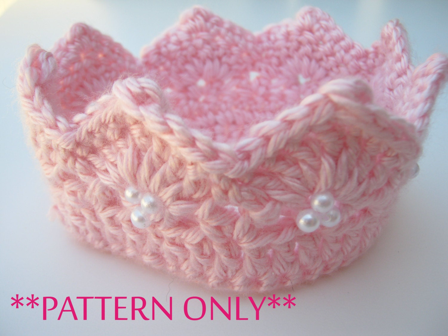 Free Crochet Pattern For Newborn Tiara : Princess Crown Crochet Pattern for Infant and by JessikiReeve