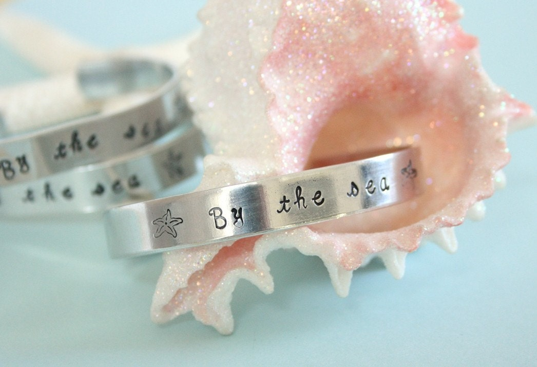 By the sea with starfish hand stamped metal cuff bracelet coastal style by  beachhouseliving on etsy