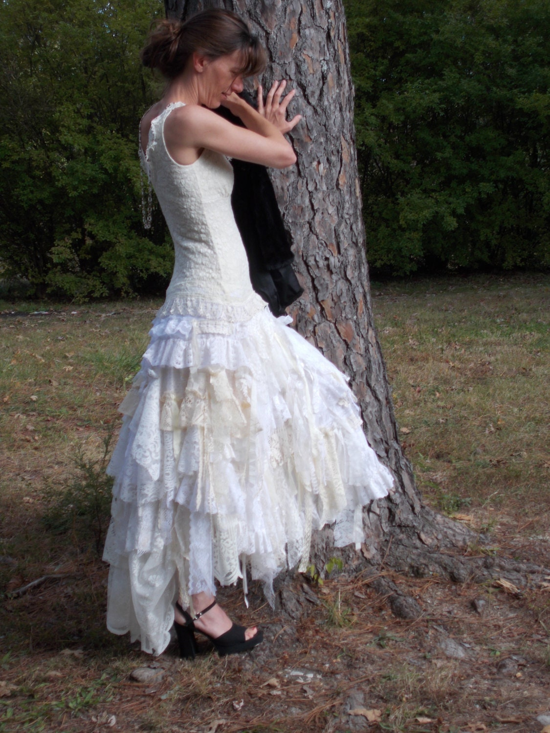 Wedding Dress Rag Doll Style Skirt Corset Front By Southernplum