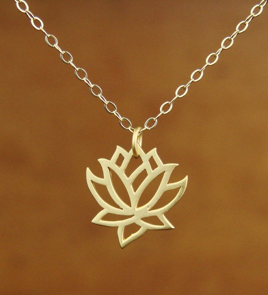Lotus Pendant Necklace In Gold Bridesmaid Gift Wedding Necklace