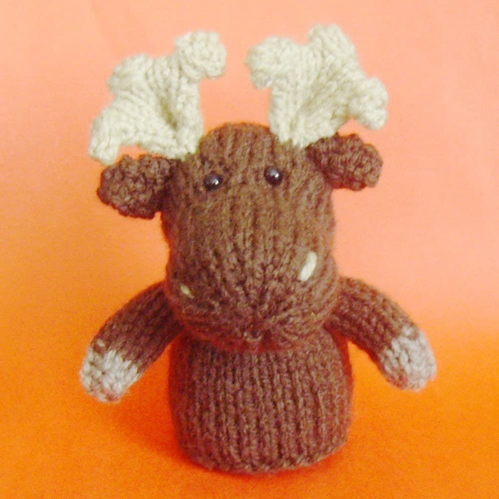 Knitting Patterns Toys Finger Puppets : Moose Toy Knitting Pattern PDF Toy Egg Cozy & Finger by Jellybum