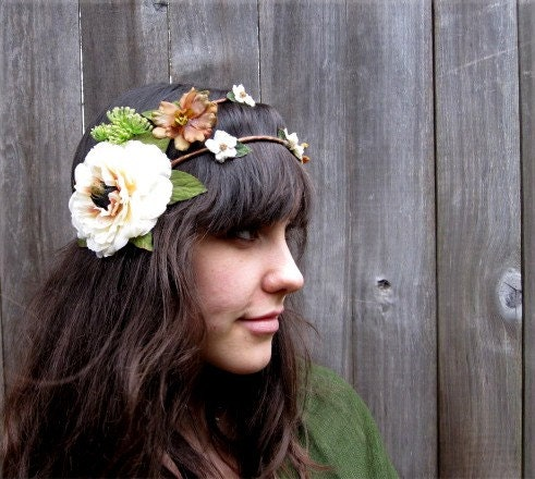 Floral Wreath - Lovely Woodland Whites, Creams & Bronze Hair Wreath, Crown