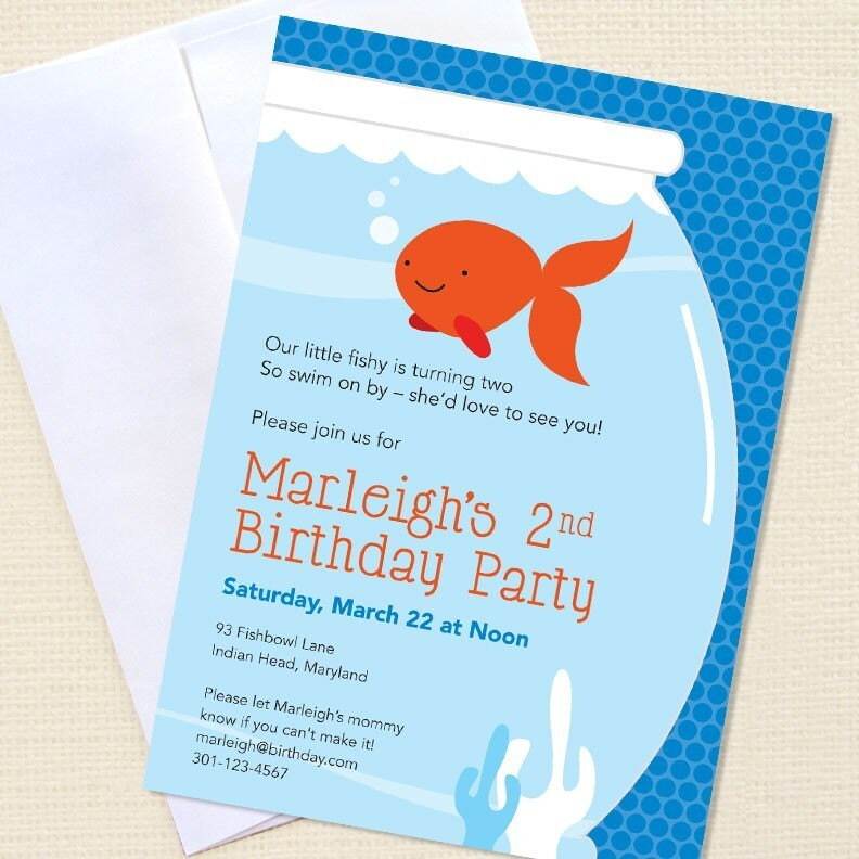Goldfish party - Set of 15 custom invitations - Printable file also available