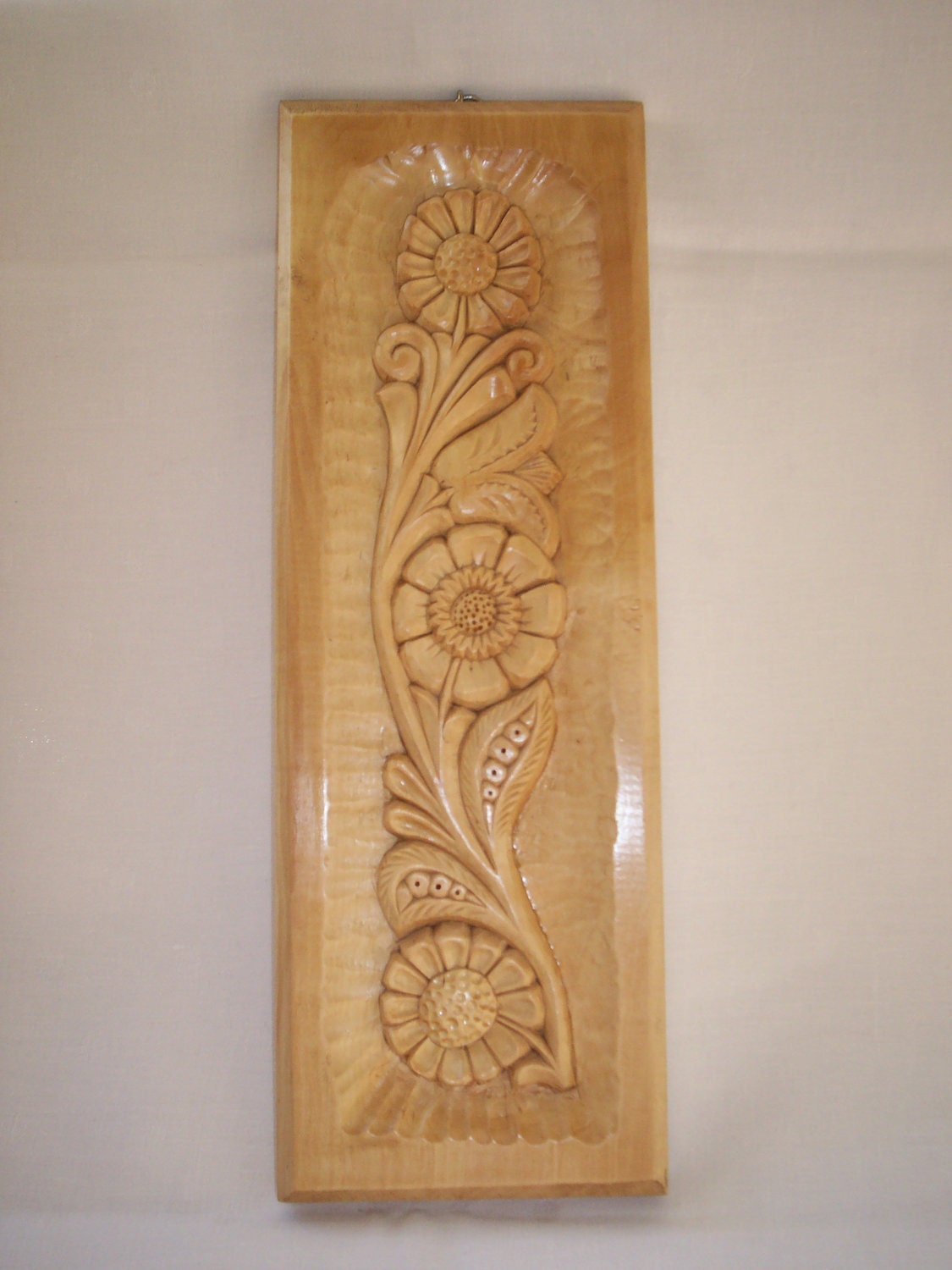 Wood Flower Wall Decor : Wood carved wall decor piece with flower by theoldwhittler