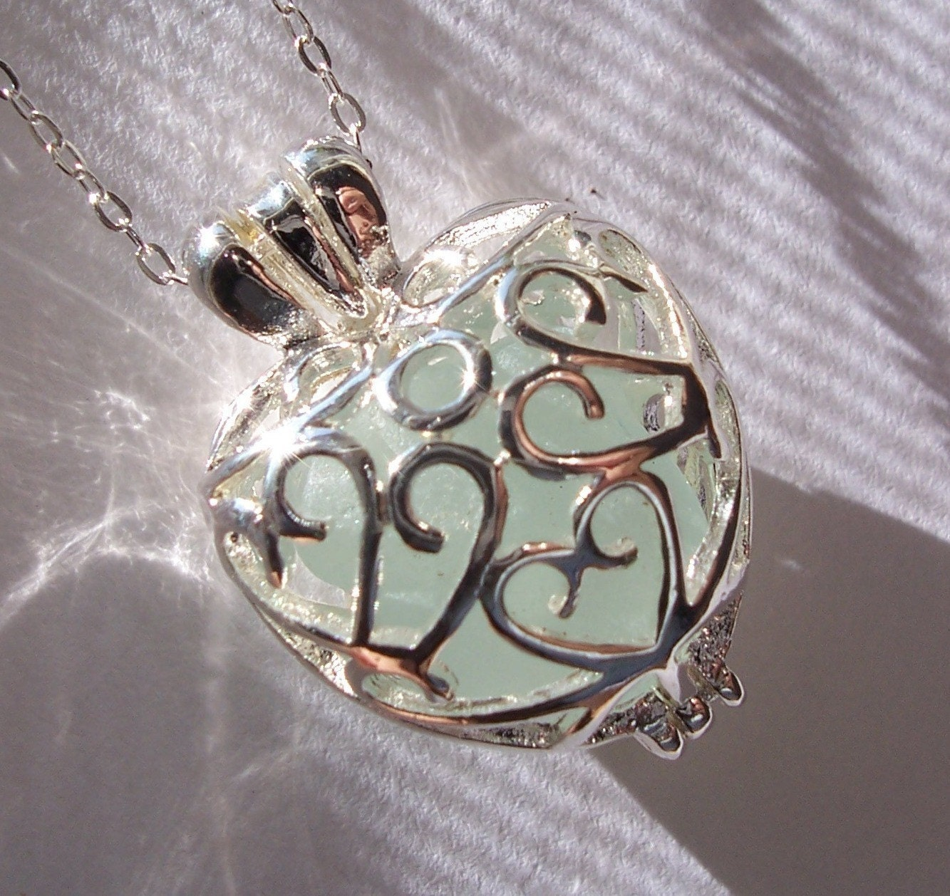 Silver Heart Filigree Sea Glass  Locket