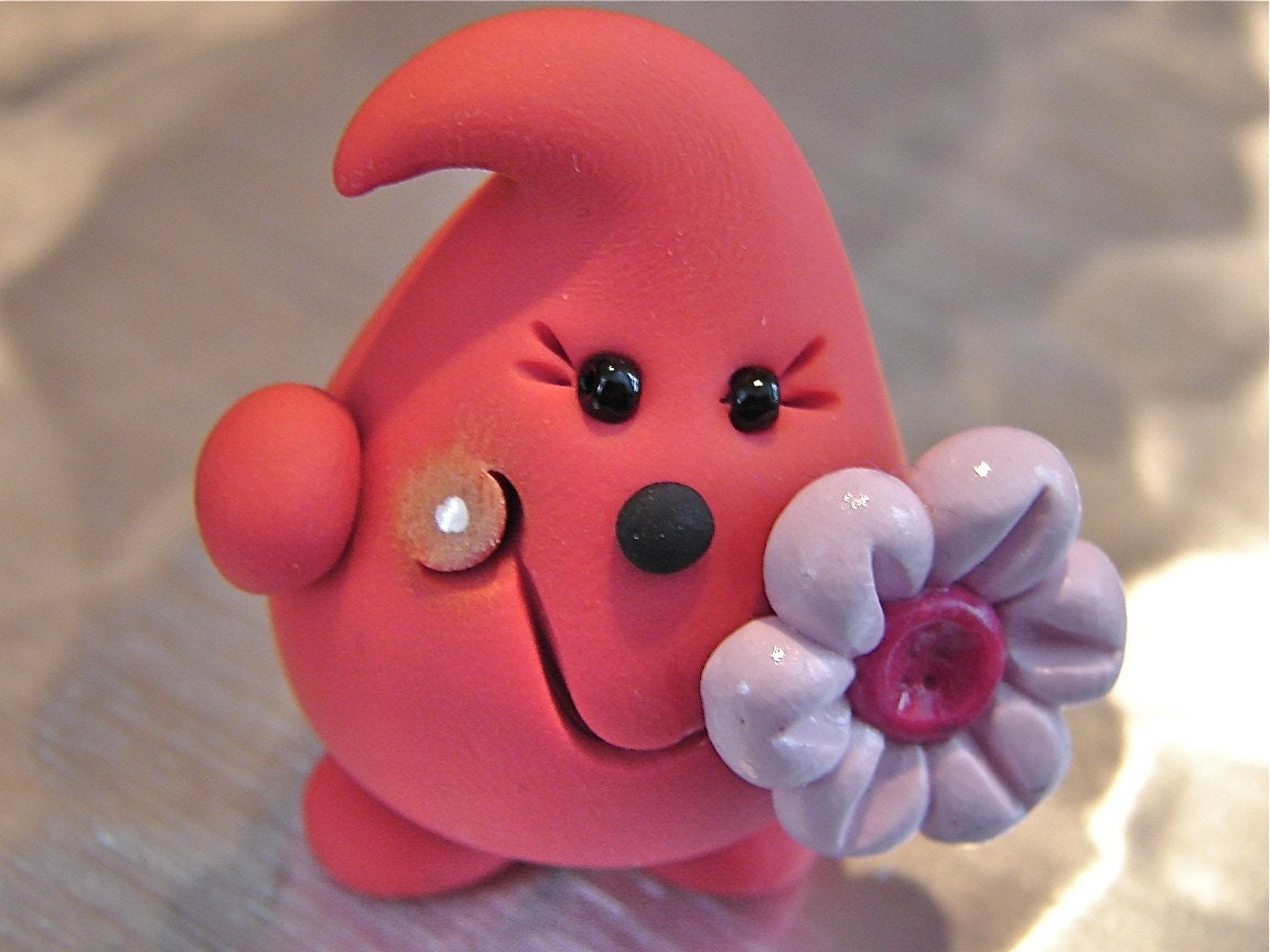 Spring Pink PARKER with FLOWER - Polymer Clay Character - OOAK - Limited Edition