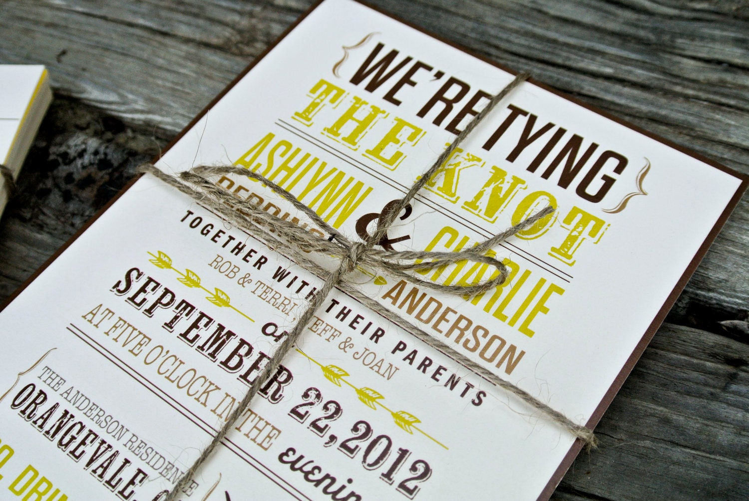 Wedding invitation tying the knot rustic by wideeyespaperco for The knot wedding invitation language