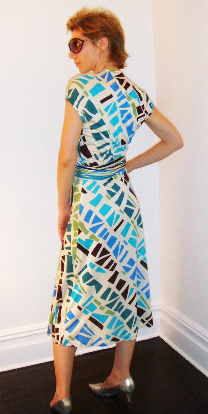 Azure Print V-Neck Dress - ON SALE