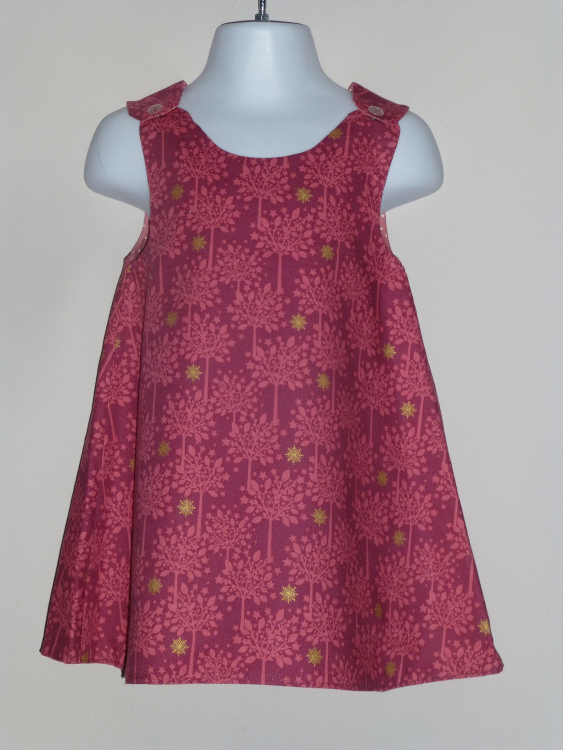 Pink A line dress pink spotted dress size 3 years one off dress reversible dress pinafore dress A line dress 3rd birthday present