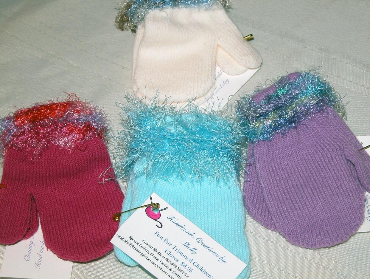 Children's Gloves and Mittens with Yarn Trim Embellishemnt