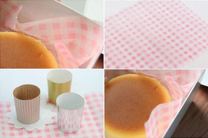 Beautiful Printed Wax Papers - Set of 20Sheets  check pink