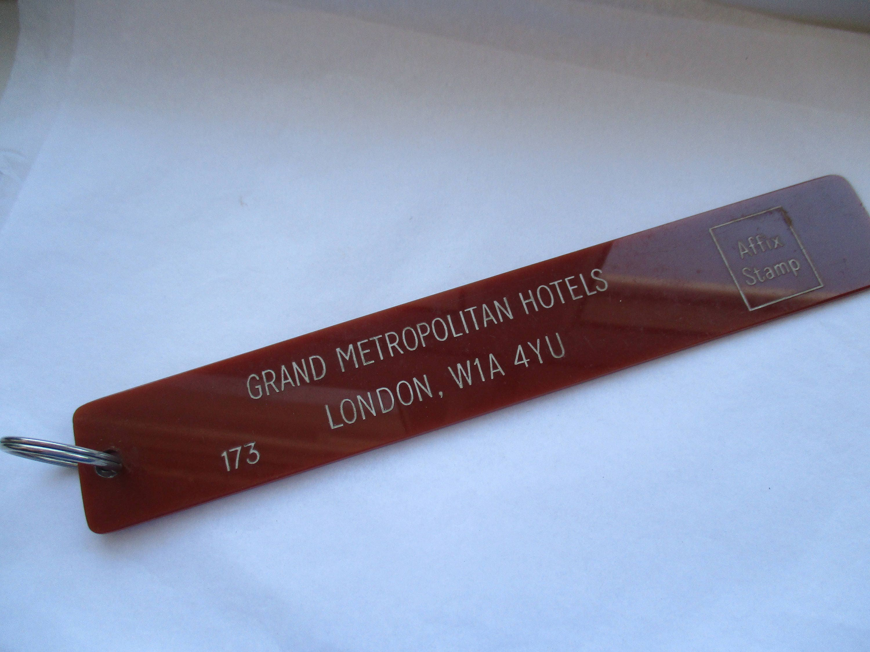 Vintage Grand Metropolitan Hotels Hotel Room 173 Key Ring Key Fob Key Chain Key Holder