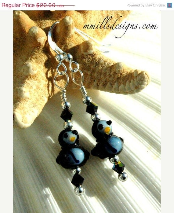 50% Off Holiday Sale Lampwork Glass Penguin Earrings