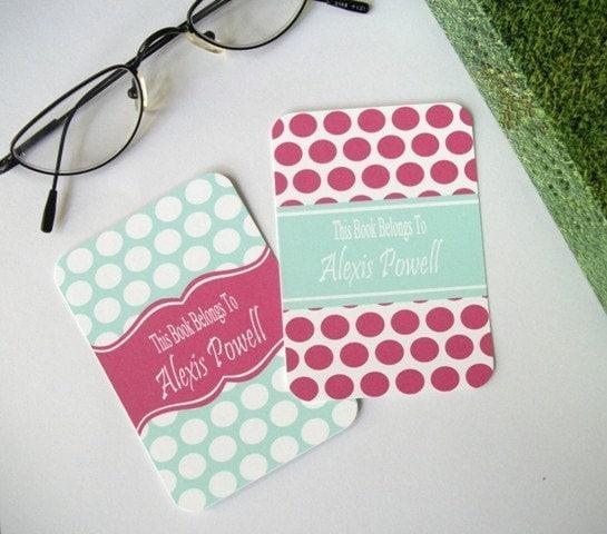 Dot Pattern Bookplate-Ribbon Style---Set of 24