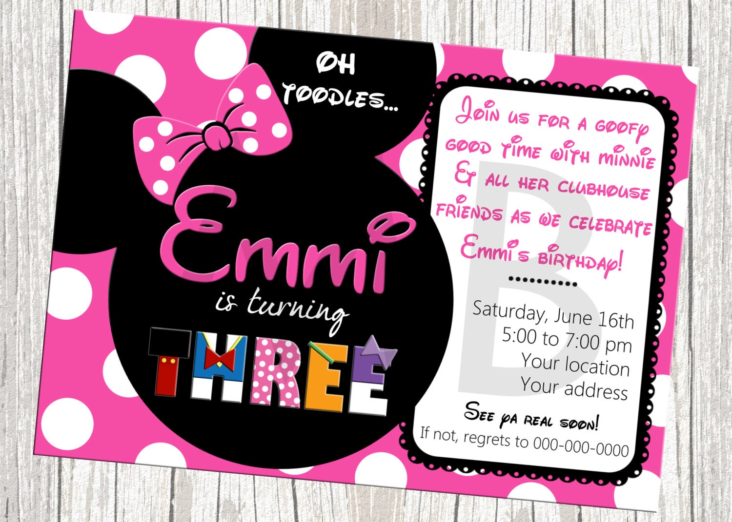 Customized Minnie Mouse Invitations with nice invitations ideas