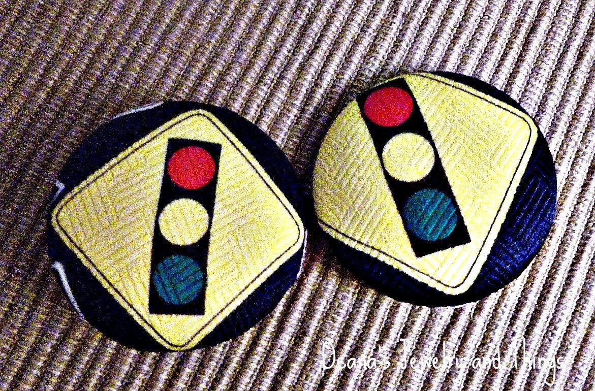 Stop Light Fabric Button Earrings 1 1/2""