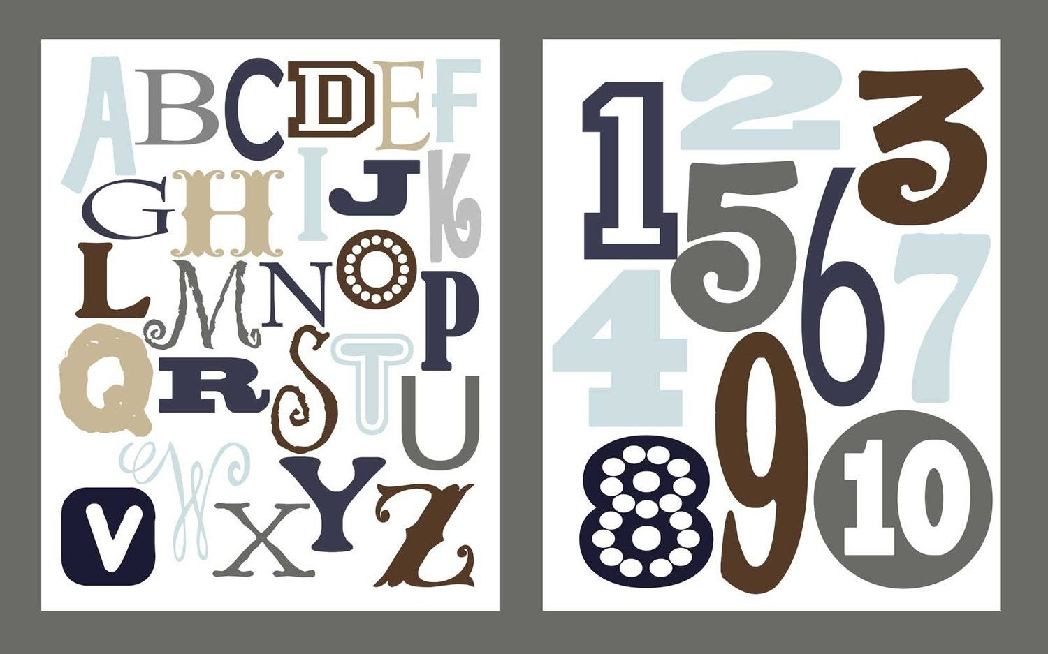 ABC Alphabet 8 x 10 and Numbers 8 x 10 Poster Print Set in Boy Version HALF OFF SALE