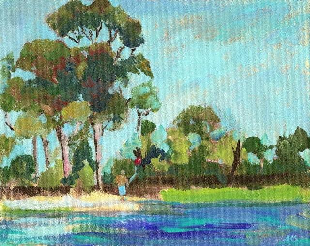 Original Acrylic Painting California Impressionistic Landscape Tree Figure  SFA
