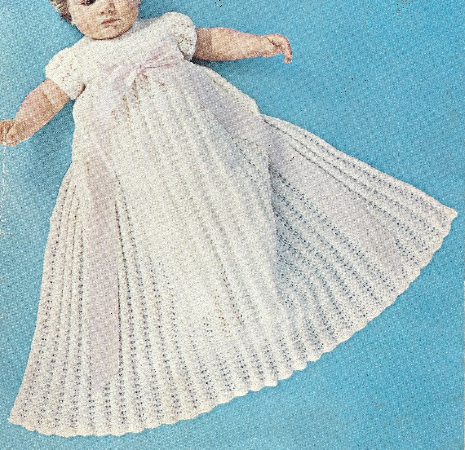 Christening Gown Knitting Patterns : Vintage Pattern Christening Gown and short Party by JackieKnitsAll