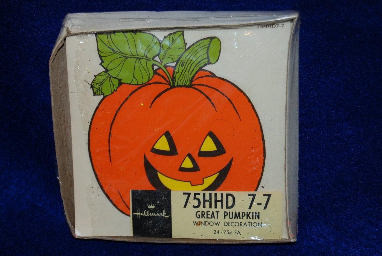 1980s Hallmark Halloween Great Pumpkin Window Decoration Stickers