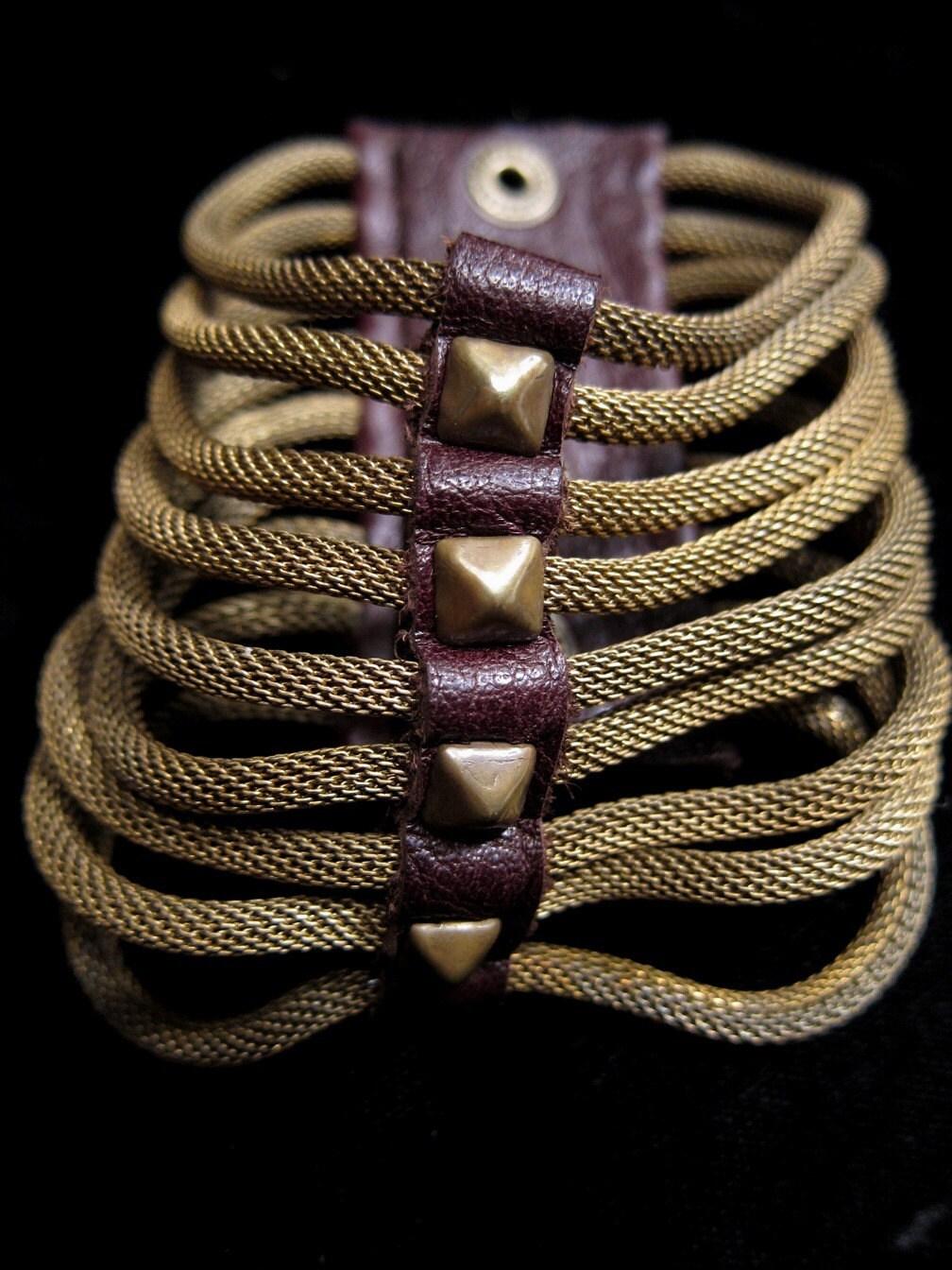 Brass Ribcage Bracelet (pyramid studs)