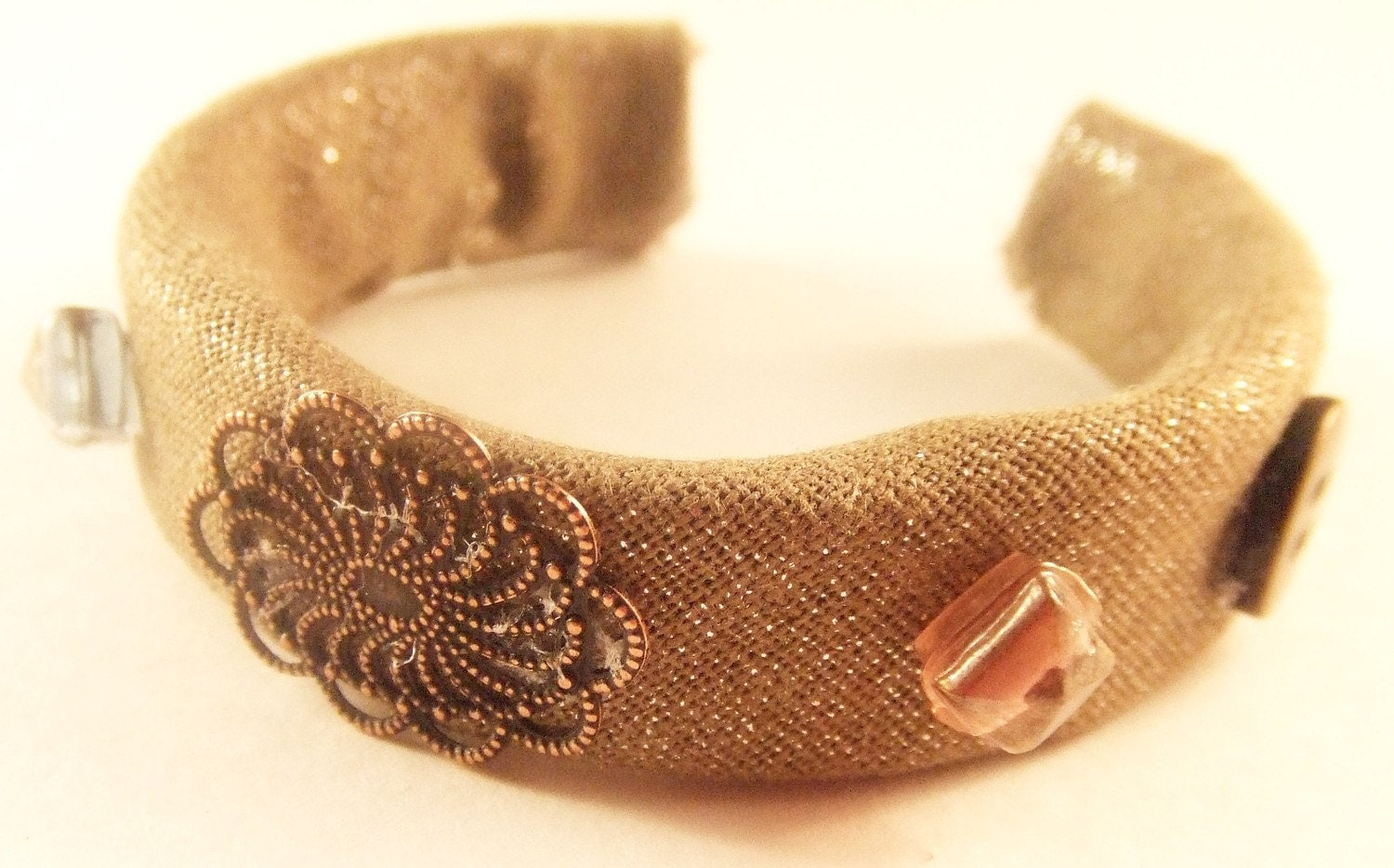 Taupe Linen Beaded Cuff