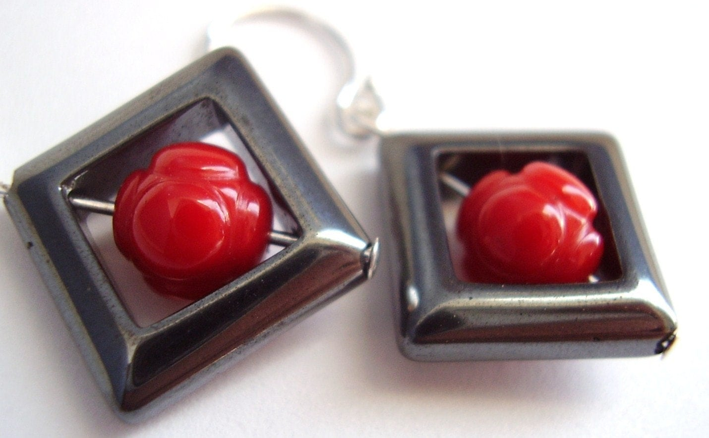 Hematite and Red Bamboo Coral Dangle Earrings