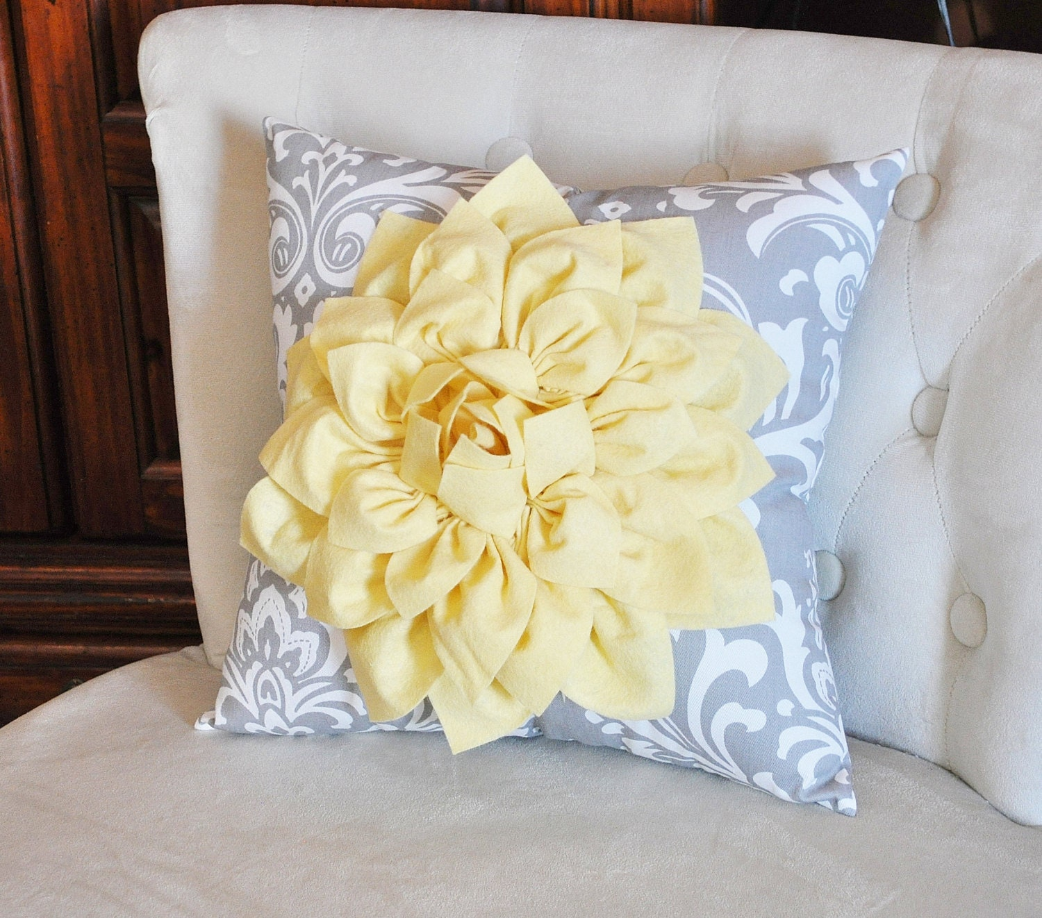 Decorative Pillow Light Yellow Dahlia on Gray and by bedbuggs
