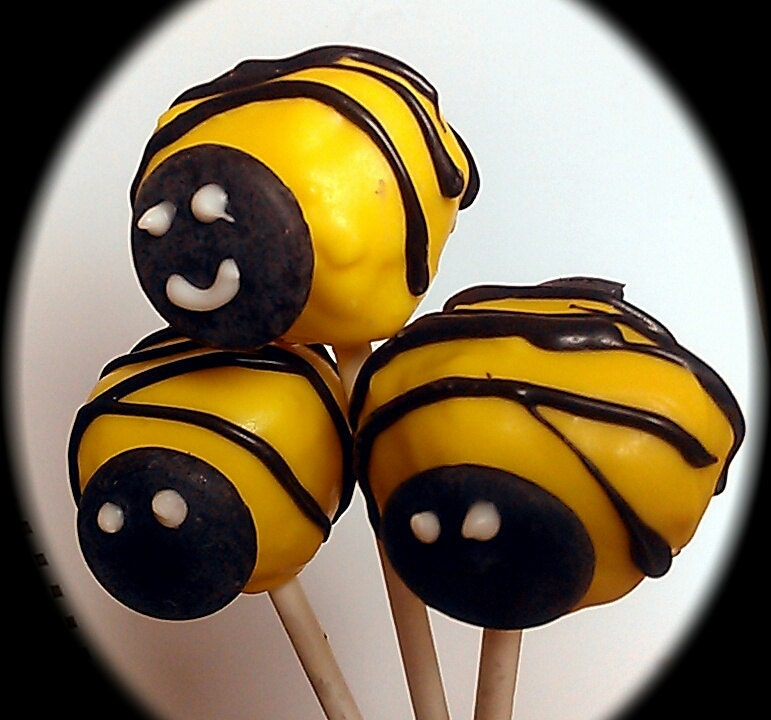 Bumble bee cake pops - choice flavors -white yellow chocolate - black 2 dozen in box- perfect Valentine's Day - ladybugsnbees