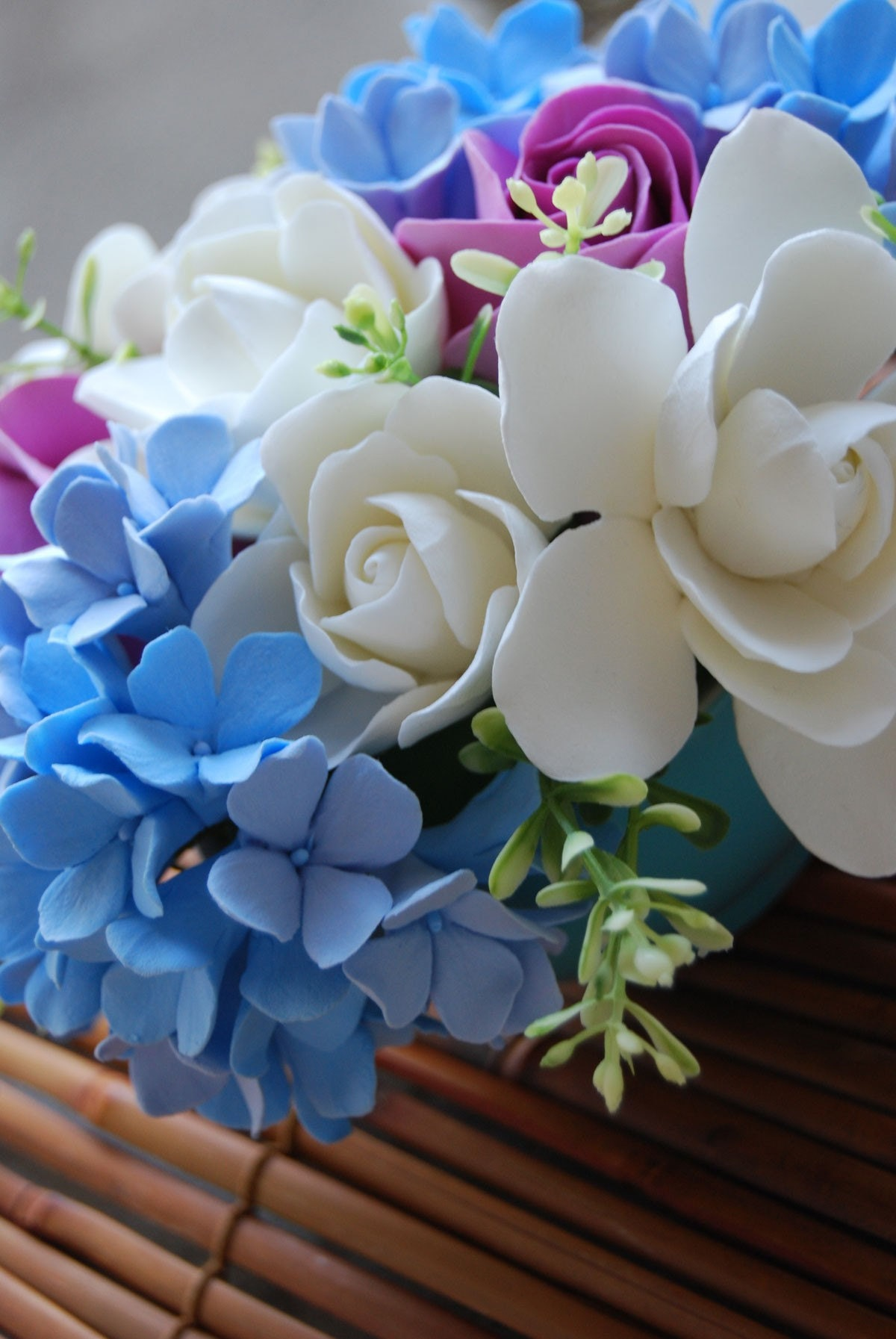 Blue Hydrangea, Gardenia and Purple Roses