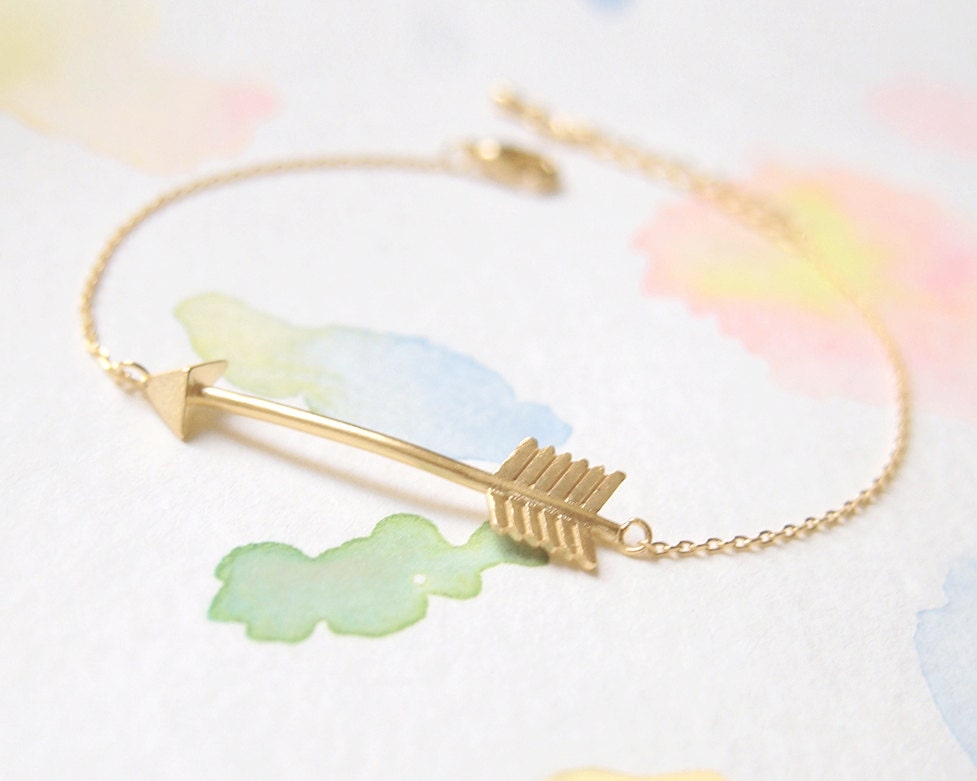 gold plated delicate arrow bracelet by recoconyc on etsy