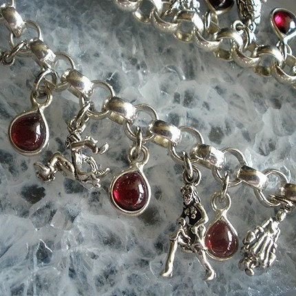 Twelve Days Of Christmas Silver and Garnet Charm Bracelet